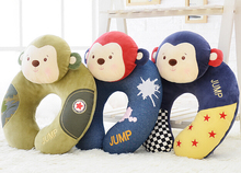 Cute 1pc 35cm cartoon metoo circus monkey plush cotton car office sofy rest pacify U neck pillow stuffed toy girl gift
