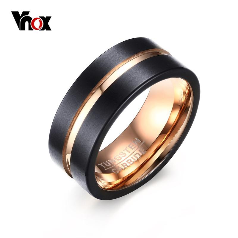 Vnox 100% Tungsten Carbide Rings for Men 8mm Width 2016 Fashion Jewelry