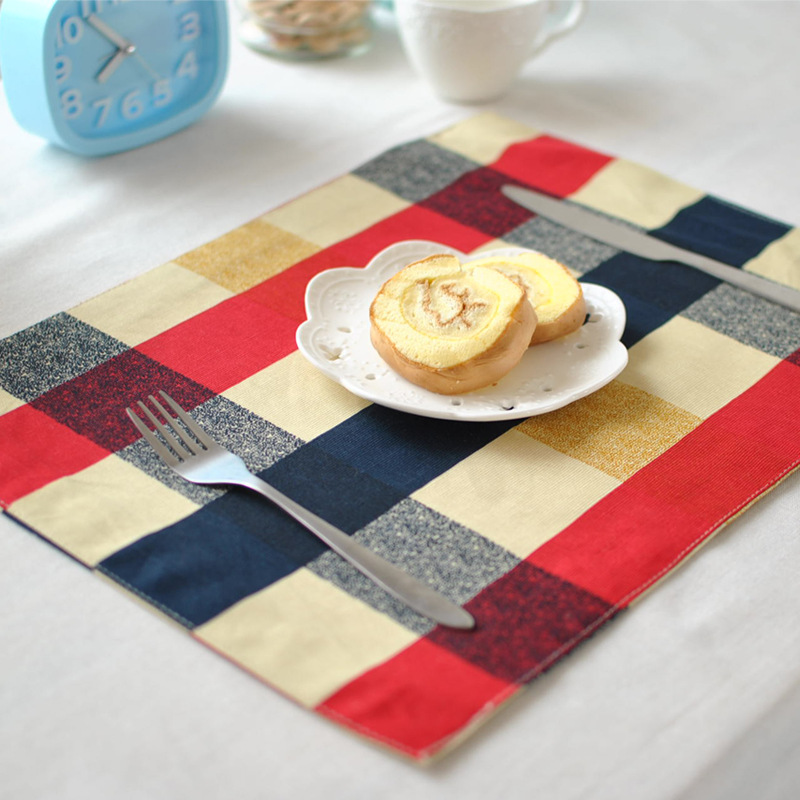 Europe Balck Red Grid Burlap Linen Placemat Heat Insulation Mat Dining Table Mat Coffee Cup Mat Coaster Table Decoration ZCM027(China (Mainland))
