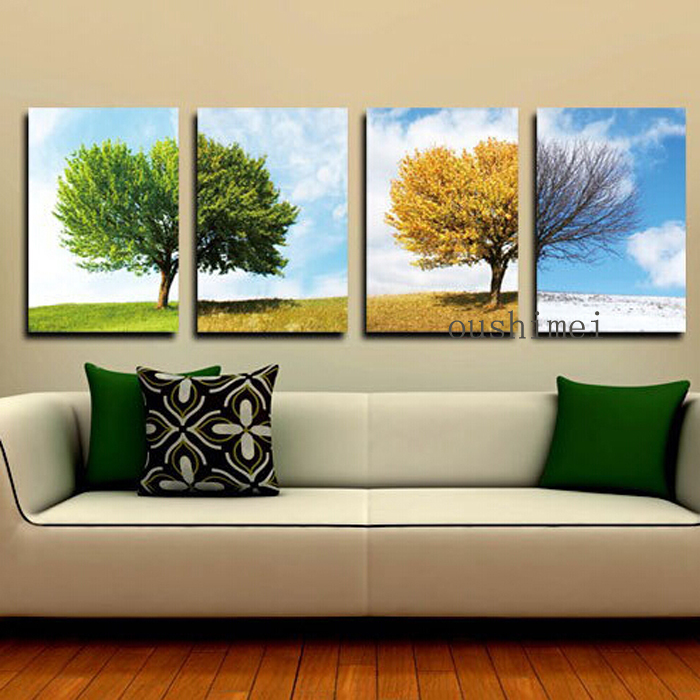 Hand Painted Oil Painting Picture For Living Room Decor Modern Season Landscape Home Decor Hand Painting On The Wall Art