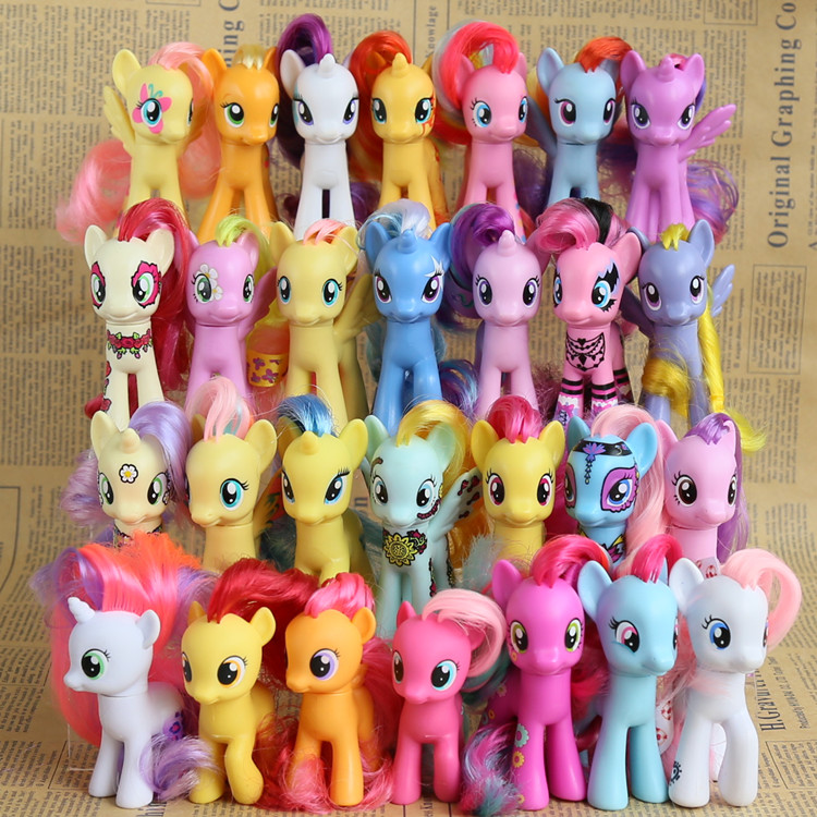 8CM my rainbow horse toys decoration PVC Figures Toy Kids Doll colourful model girl's Christmas birthday gift(China (Mainland))