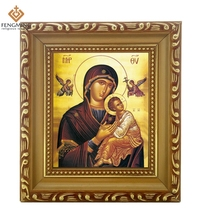 "2016 Discounte russia Orthodox Church Supply lcon of Mother of God Icon ""Holy"" wood photo Frame Byzantine Art religious crafts(China (Mainland))"