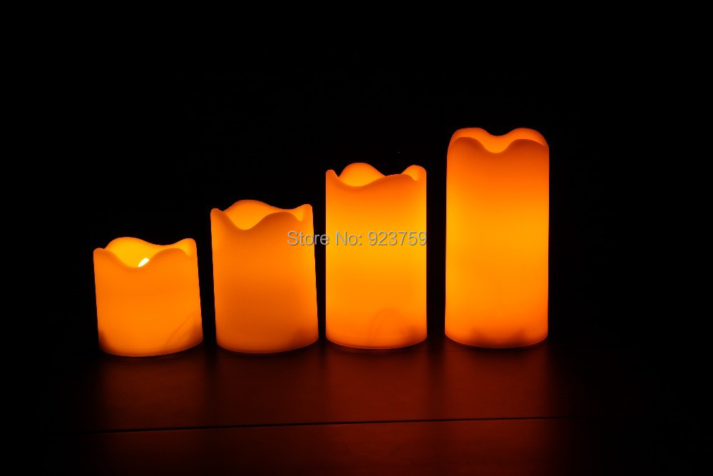 Candle Choice Set of 4 Plastic Flameless Candles/LED Candles with Dual-Timer(China (Mainland))