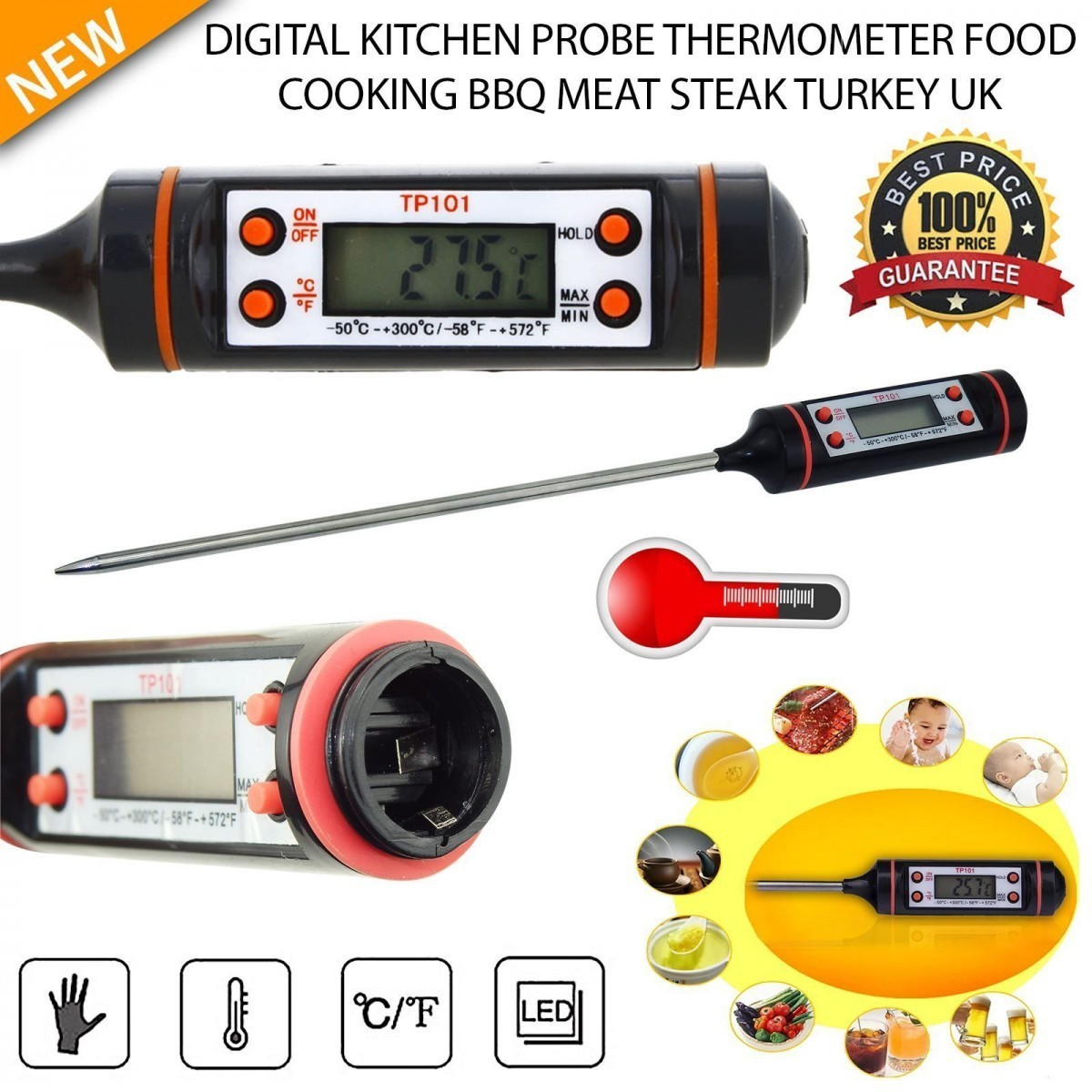 Digital Probe Thermometer Kitchen Cooking BBQ Food LCD Stainless Steel Sensor Timer Temperature Gauge - Bravo!! store