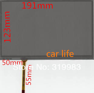 Black Reduce reflective 8 inches 4 pin glass touch screen panel 192*123mm for car Control instrument DVD GPS free shipping(China (Mainland))