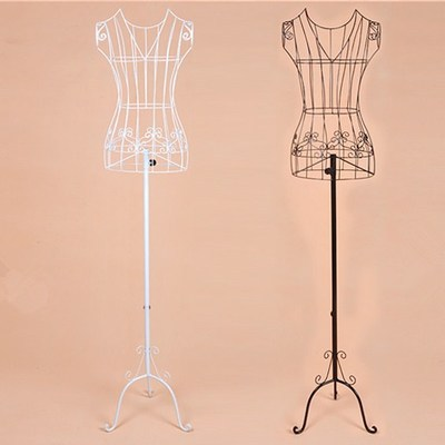 Clothing store people, wrought iron models v-neck wedding dress display rack Women's body bust shot props - White windmills