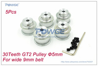 5pcs 30 Teeth GT2 Pulley Bore 5mm for Wide 9mm GT2 Open Timing belt Positioning Accuracy (30Teeth) small backlash Linear Motion