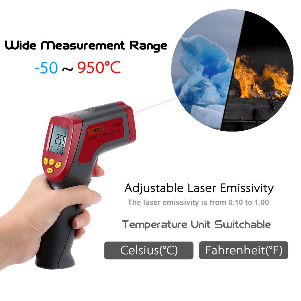 UYIGAO -50~950C 12:1 Handheld Digital Thermometer Infrared IR Temperature Tester Pyrometer with Backlight Adjustable Emissivity(China (Mainland))