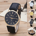 Luxury Classic Geneva Gold Silver PU Leather Quartz Dress Business Wrist Watch Gift Hours for Men