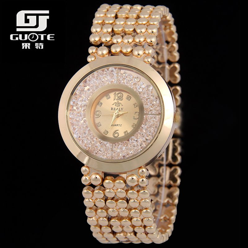 GUOTE Luxury Women Watch Fashion Casual Wome Moveing Beads Crystal Gold Quartz Ladies Dress Wristwatch Relogio Feminino - BXboxue Store store