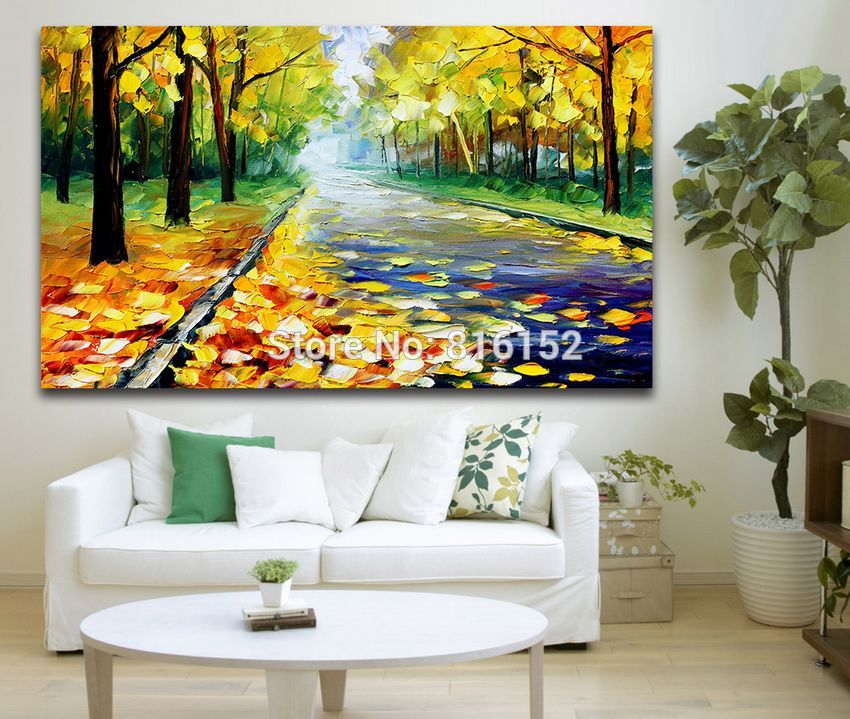 Buy 100% Hand-painted Palette Knife Painting Charming Forest Road Landscape Picture Frameless Canvas Art for Home Decor Art cheap