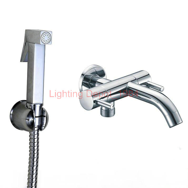 Гаджет  One in Two out Mop pool faucet with spout and handle shower connector toilet bidet spray gun solid brass chrome finish LD375 None Строительство и Недвижимость