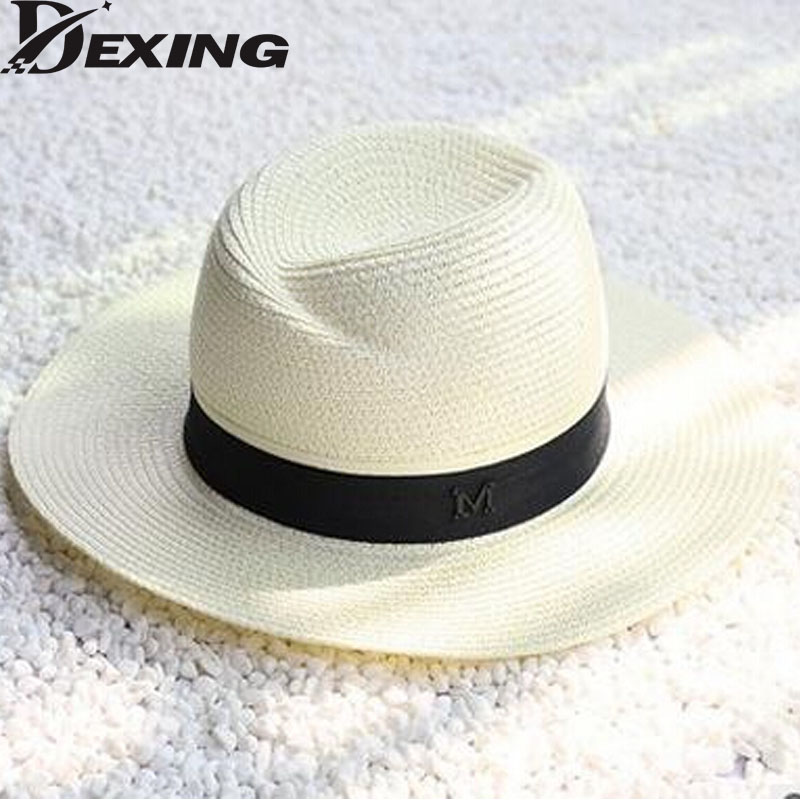 new white straw letter summer hats for women straw sun hat chapeau femme beach panama hat 6color. Black Bedroom Furniture Sets. Home Design Ideas