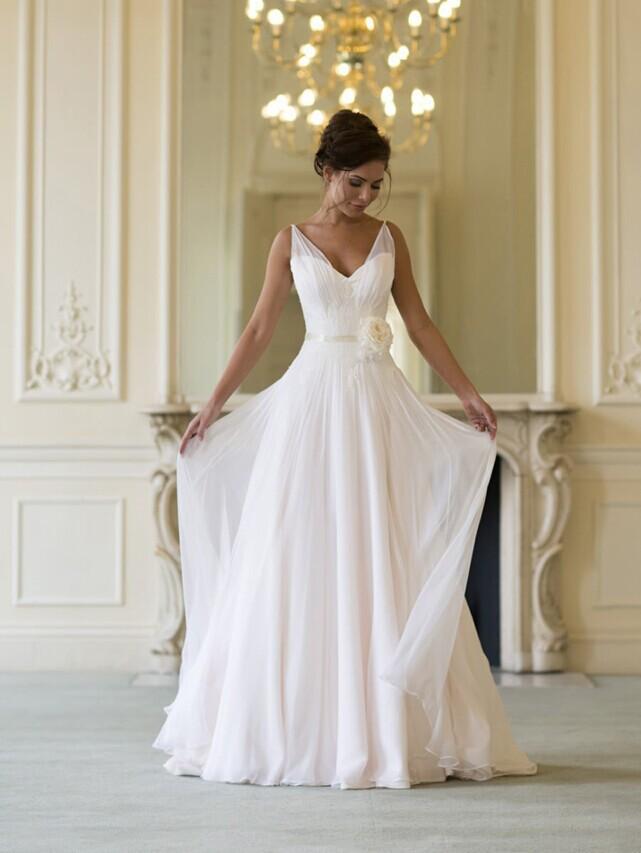 Modern V Neck Wedding Dress : Modern fashion sexy v neck wedding dresses chiffon