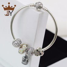 JJY 100% 925 Sterling Silver Jewelry Compatible With Pandora Bracelet Bangles Charms Silver 925 Original Bangles For Women(China (Mainland))