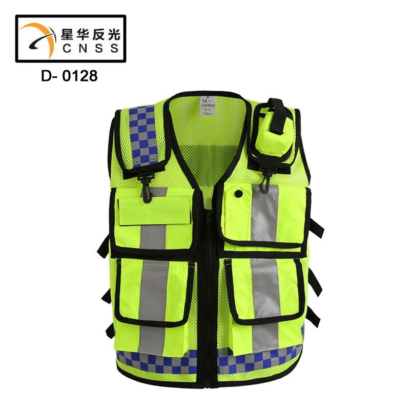 2016 новый гонконг стиль светоотражающий жилет экран решетки ткань безопасности жилет дорожной полиции молния светоотражающий жилет печать состоянии