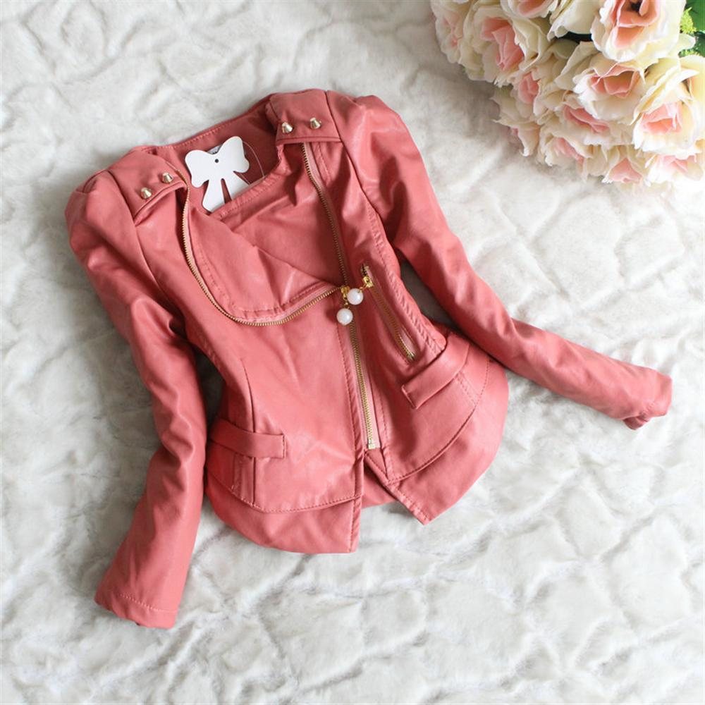 Girls Coat long sleeve fashion kids girl leather jacket Beads zipper children outerwear PU kids apparels children clothing C115(China (Mainland))