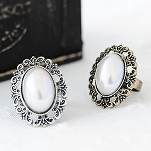 LZ Jewelry Hut R230 R231 The 2014 New Wholesale Vintage Pearl Alloy Adjustable Rings For Women(China (Mainland))