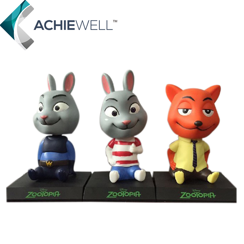 New Anime Zootopia 14cm Judy Hopps Nick Wilde Action Figure Car Shaking Head Model Desk Toys For Fan Collection Children Gift(China (Mainland))