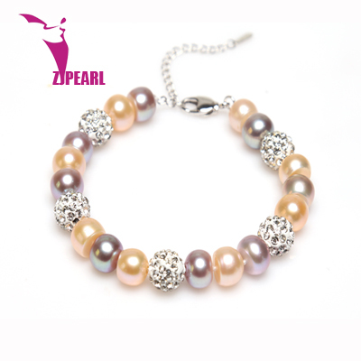 ZJPEARL Pearl Jewelry,new fashion design 8.5-9.5mm natural freshwater pearl bracelet bangles, charms bracelets for women gift