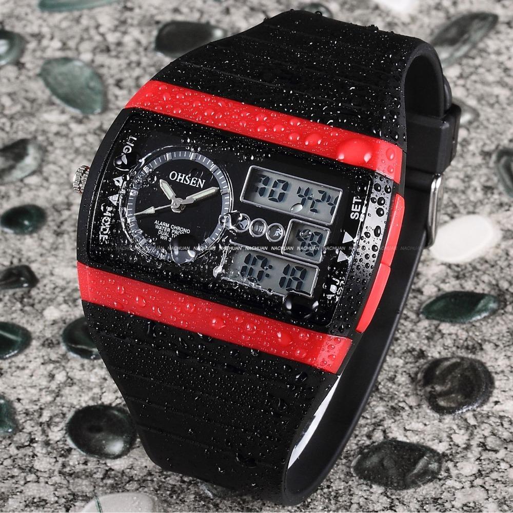 OHSEN Relogio Esportivos Masculinos Men Sports Watches Date Alarm Stopwatch Black Rubber Strap Wristwatch Children Digital Watch(China (Mainland))