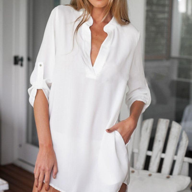New Fashion Women Long Sleeve Chiffon Shirt Stand Collar Casual Loose Blouse Top Autumn(China (Mainland))