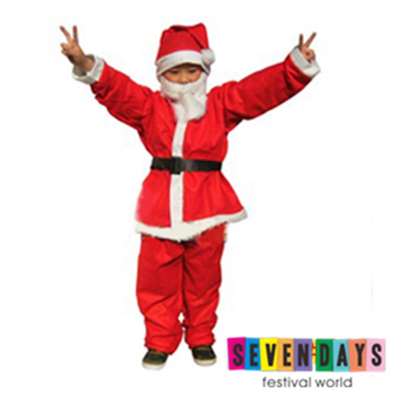 2015 Best Christmas Gift Children Non-woven Fabric Santa Claus Costume Party Costumes Fancy Dress 5pcs/set - Seven Days Festival World store
