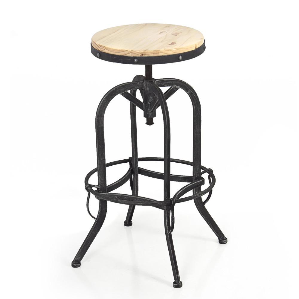 Metal Design Wood Top Adjustable Height Swivel Vintage Bar Stool Industrial(China (Mainland))