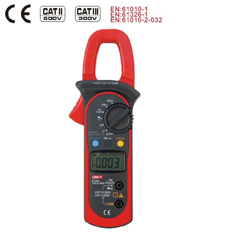 UNI T UT204A digital clamp multimeters auto range temperature AC DC current clamp meter uni t