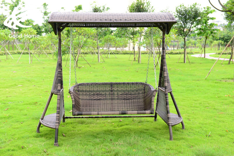 Outdoor rattan double garden swing chair rocking Happy four basket 3(China (Mainland))