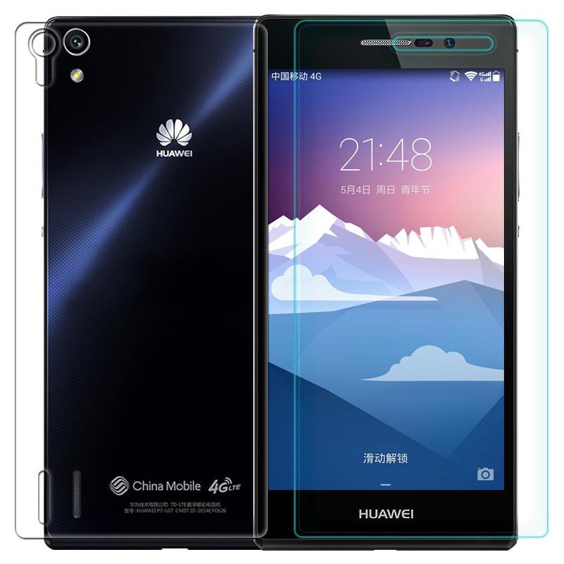 0.3 мм один спереди один назад закаленное стекло для Huawei P7 2.5D дуги края высокий прозрачно протектор фильм с чистой инструменты