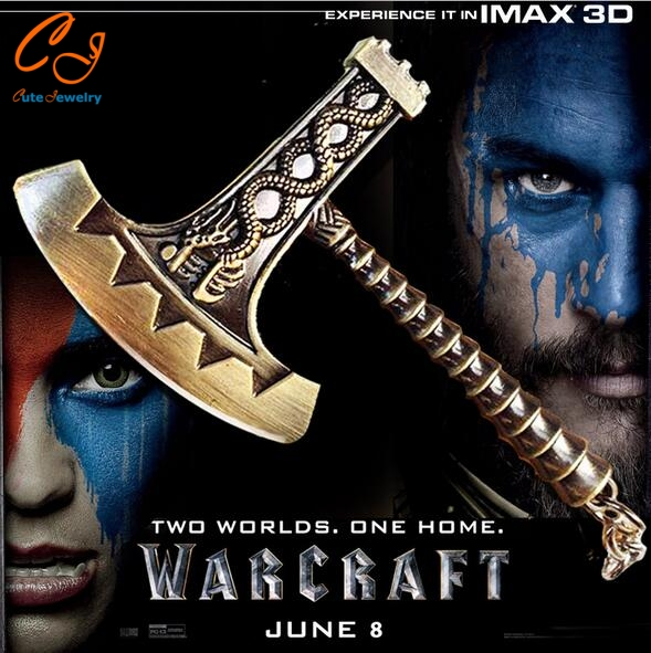 NEW Jewelry Hot Game World of Warcraft Keychain Weapon Model Key Chain Knife Game Fans Women&Men Big Axe WOW Gold(China (Mainland))