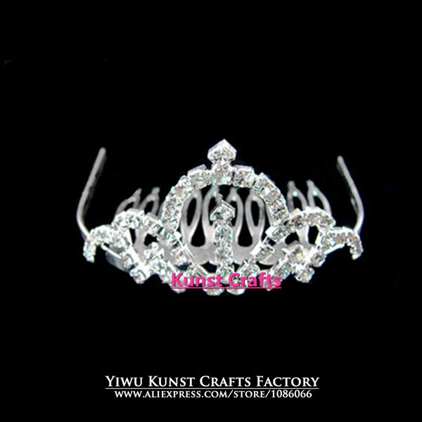 Silver Clear Stones Wholesale Girl Gift Pageant Baby Crowns Tiaras FC036(China (Mainland))