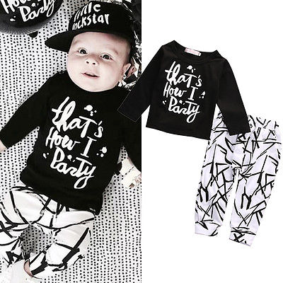 Cotton Newborn Baby Boys Girls clothes T-shirt Tops Line Pants Leggings Outfit baby clothing Set 0-24M(China (Mainland))