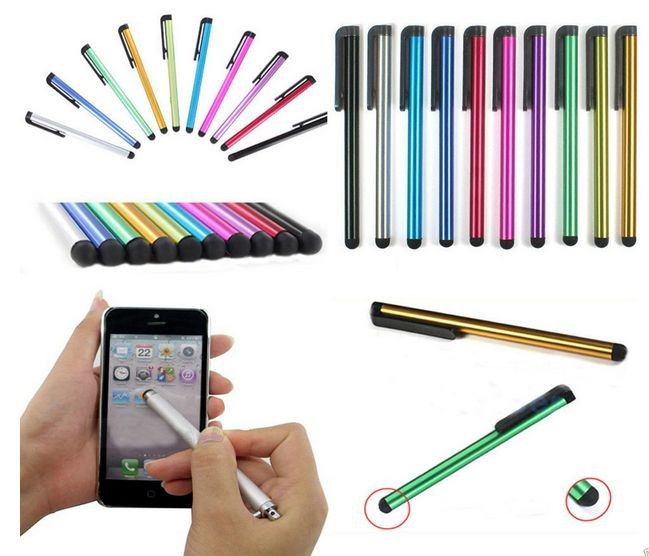 10PCS/LOT Colorful Metal Stylus Touch Screen Pen for iPhone 5 4s iPad 3/2 iPod Touch Smart Phone Tablet PC Universal(China (Mainland))