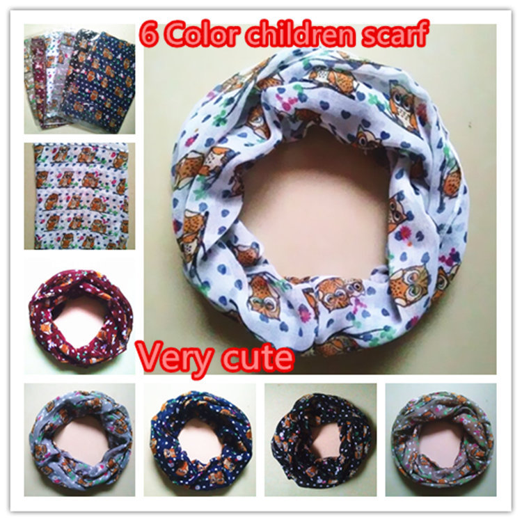 10pcs/lot 6 Colors New Girl and Boy Children small owl Print Scarf Circle Loop Kids Infinity Scarves Baby Accessories(China (Mainland))