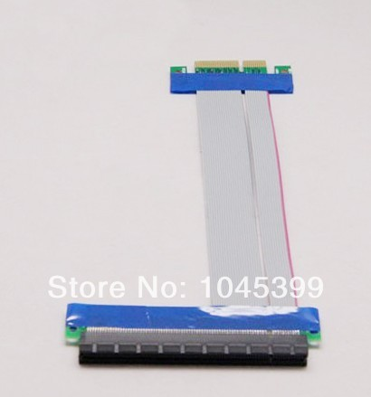 PCI-E 4X To 16X Card Adapter Cable Flexible Flat Ribbon Extender Extension Cord 15CM Free shipping(China (Mainland))