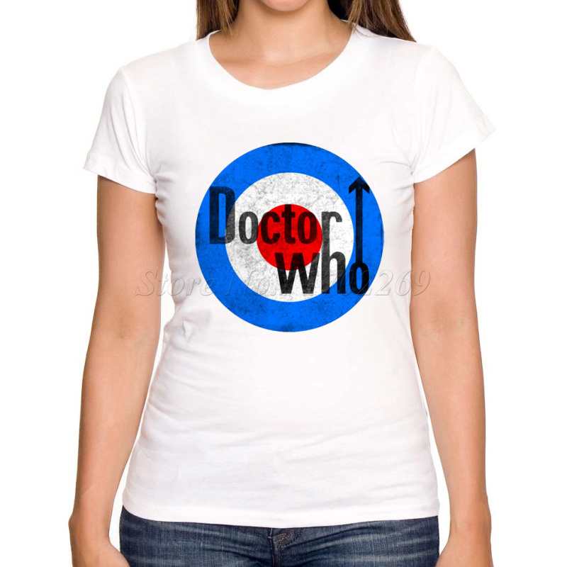 New arrivals Doctor who women customized t-shirt Tardis Express Doctor Target Logo New London Retro printed women tee shirts(China (Mainland))