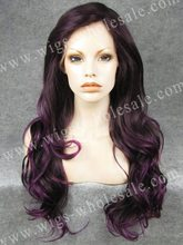Cosplay Violet Purple Two Tone High Density Synthetic Lace Front Wig