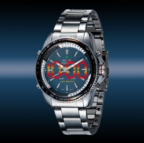 2010 hot Luxury Analog LED Digital Date Steel Sport Men Watch blue<br><br>Aliexpress