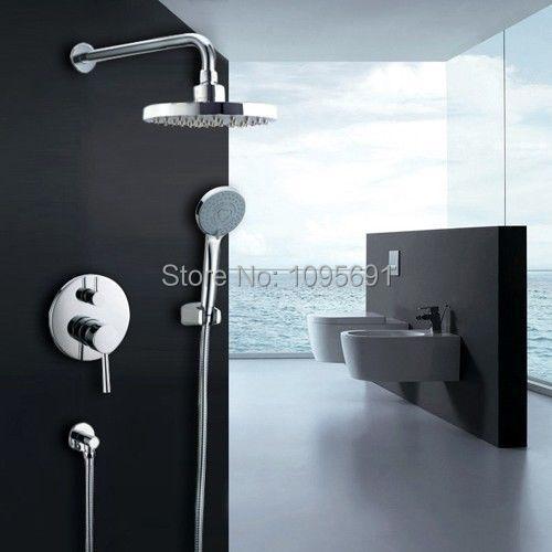 New Wall Mount Rain Shower System Shower Head Hand Shower Shower Valve Set Bathroom Set(China (Mainland))