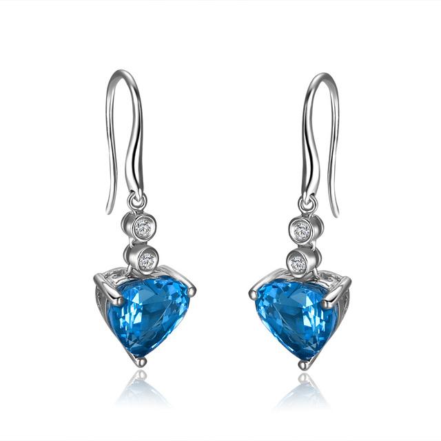 ZOCAI ZODIAC GEM 6.7 CT MYSTIC BLUE TOPAZ 0.097 CT DIAMOND HEART HOOK EARRINGS JEWELRY LEVERBACK 18K WHITE GOLD FREE SHIPPING