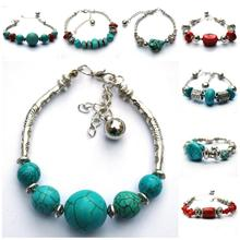 64 Styles Hot Fashion Vintage Style Tibetan Silver Flowers Heart Turquoise Bracelet Bangle Jewelry for Women Accessories(China (Mainland))