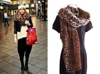 women's Leopard Faux fur carfs winter fashion style Pashmina scarf