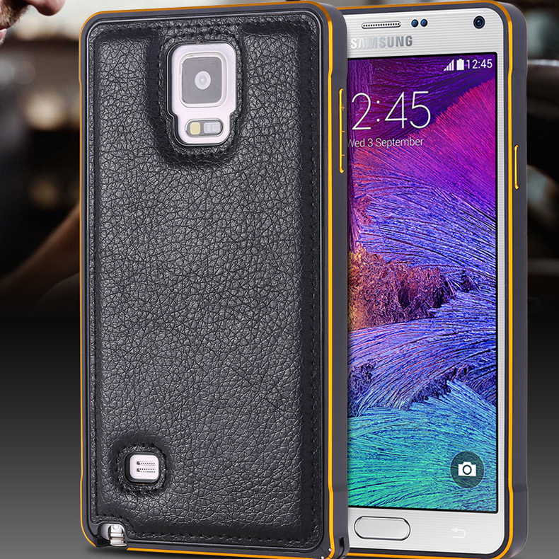 Note 4 Capa Metal Aluminum Frame+ PU Leather Back Cover For Samsung Galaxy Note 4 IV N9100 Luxury Ultra Thin Phone Cases(China (Mainland))