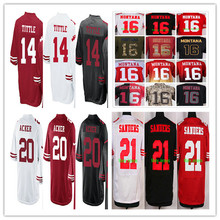 2016 #14 Y.A. Tittle,#16 Joe Montana,#20 Kenneth Acker,#21 Deion Sanders men women youth kids Jerseys Red White black M-4XL(China (Mainland))