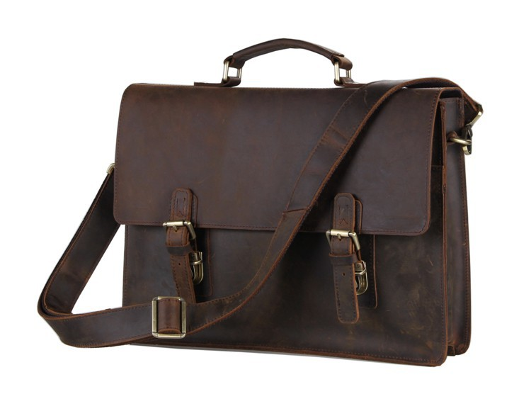 Maxdo High Quality Vintage Brown Real Genuine Leather Men Leather Briefcase 14 inch Laptop Bag Men