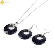 CSJA Schmuck Sets für Frauen Natürliche Hohle Runde Edelstein Stein Onyx Unakite Lila Kristall Opal Ohrringe Halsketten Healing E568(China)