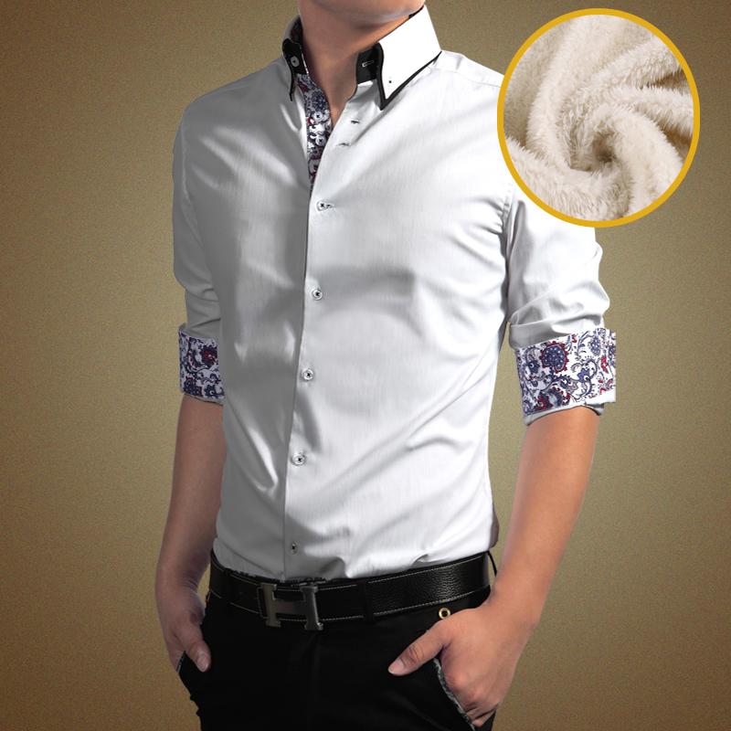 Venda quente de Outono e Inverno camisa de algodão com lã quente homens camisa de manga longa camisas de marca homens plus size M-4XL(China (Mainland))