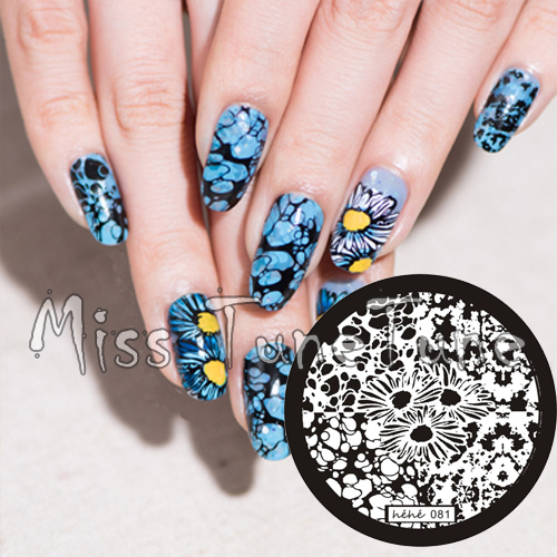 New Stamping Plate hehe81 Ripples Water Bubbles Daisy Flower Nail Art Stamp Template Image Transfer Tool
